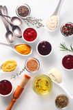 Spicy Rubs and Marinades on White Table Stock Photography