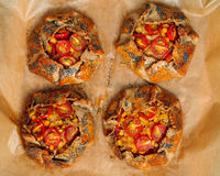 Spicy rye galettes with tomatoes, corn and ricotta. Mini rye galettes with tomatoes, corn and ricotta Royalty Free Stock Image