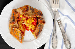 Spicy rye galettes with tomatoes, corn and ricotta royalty free stock image