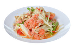 Spicy salad. Favorite Thai  spicy food on white background Stock Images
