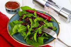 Spicy salad with arugula, beans and chili royalty free stock photography