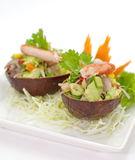 Spicy salad with avocado ,seafood Royalty Free Stock Photos