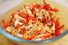 Spicy salad with chicken, paprika and onion Royalty Free Stock Image