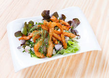 Spicy salad with deep fried marinated chicken Royalty Free Stock Image