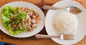 The Spicy Salad Egg of Ant and steamed white rice Royalty Free Stock Images