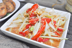 Spicy salad or papaya salad, SOM TAM in Thai food. Spicy salad or papaya salad dish, SOM TAM in Thai food Stock Images