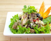 Spicy salad with pork and green herb Stock Photography