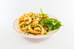 Spicy salad with pork skin fried Royalty Free Stock Photography