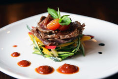 Spicy salad of roast beef Stock Images