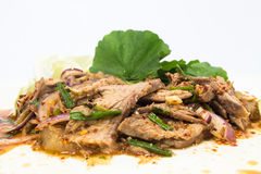 Spicy salad of roasted beef , Thai style cuisine. Nuea yang nam tok, sliced grilled beef in a spicy dressing with shallots and mint is most often made with Stock Image