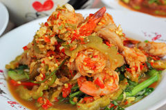 Spicy salad and shrimp - asia food Royalty Free Stock Photo