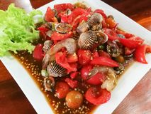 Spicy salad shrimp And Blood cockle. Thai food Royalty Free Stock Images