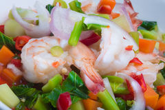 SPICY SALAD WITH SHRIMPS Royalty Free Stock Photo