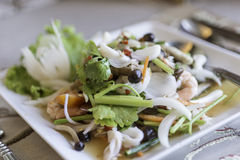 Spicy salad, spicy vermicelli salad , thai salad famous appetize Royalty Free Stock Photos