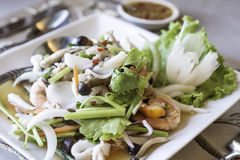 Spicy salad, spicy vermicelli salad , thai salad famous appetize Royalty Free Stock Images