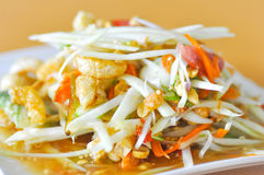 Spicy salad ,Thai salad with crispy pork Stock Photo