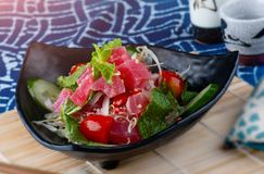 Spicy salad tuna in Thai style stock image