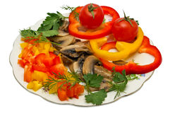 Spicy salad with vegetables. Pepper salad with mushrooms and tomatoes Royalty Free Stock Images