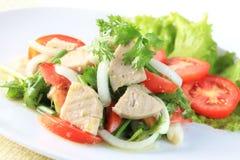 Spicy salad of white pork sausage, Popular Thai food royalty free stock images