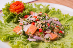 Spicy salmon Fresh salad In bold is the Asian counterpart. Stock Image