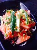 Spicy Salmon Salad. Japanese Food, Fusion Food Stock Image