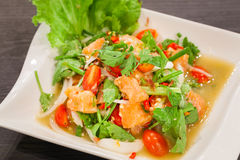 Spicy salmon salad with mixed vegetable. Royalty Free Stock Image