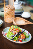 Spicy salmon sald. Stock Photo