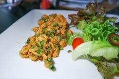 Spicy salmon or spicy salmon salad. Or spicy salad stock photos