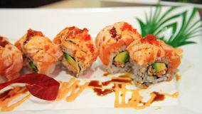 Spicy salmon sushi rolls Royalty Free Stock Image