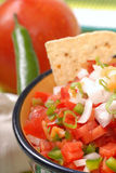 Spicy salsa with tortilla chips Royalty Free Stock Photo