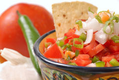 Spicy salsa with tortilla chips Royalty Free Stock Photos