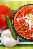 Spicy salsa with variety of ingredients. Bowl of spicy salsa with tomato, garlic and Serrano pepper royalty free stock photos