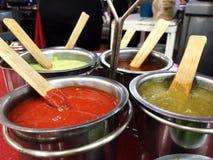 Spicy salsas - Mexican tacos Stock Photos