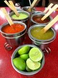 Spicy salsas - Mexican tacos Royalty Free Stock Photos