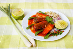Spicy Sardines in tomato sauce canned fish. Royalty Free Stock Photography