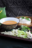 Spicy Sauce with Rice Noodle on Background Royalty Free Stock Images