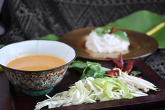 Spicy Sauce with Rice Noodle on Background Royalty Free Stock Photos