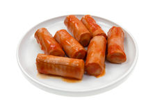 Spicy Sausage In Dish Side View Stock Image