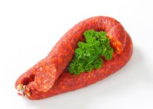 Spicy sausage Stock Photos