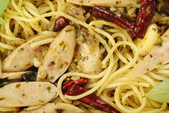 Spicy sausage spaghetti Royalty Free Stock Images