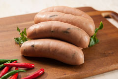 Spicy sausages Stock Images