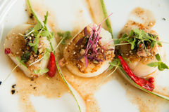 Spicy scallop serve in Thai style Royalty Free Stock Photos