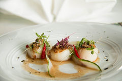 Spicy scallop serve in Thai style Stock Photo