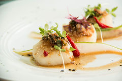 Spicy scallop serve in Thai style Royalty Free Stock Images
