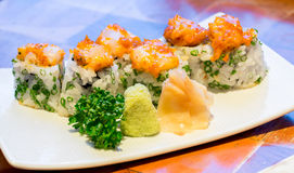 Spicy scallops Sushi Royalty Free Stock Image