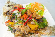 Spicy sea bass fried Stock Photo