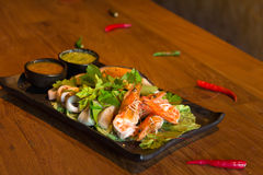 Spicy seafood combination Royalty Free Stock Photos