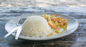 Spicy Seafood curry and Rice served on Dish Royalty Free Stock Photos