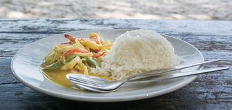 Spicy Seafood curry and Rice served on Dish Royalty Free Stock Image