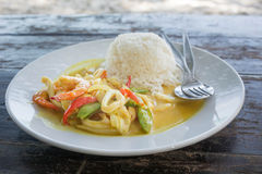 Spicy Seafood curry and Rice served on Dish Stock Images